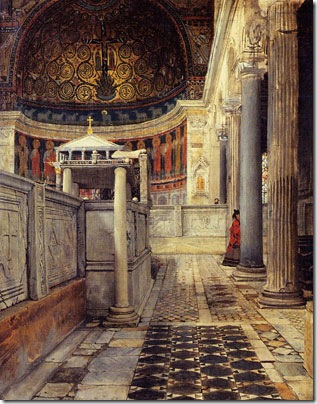 Interior of the Church of San Clemente, Rome, 1863, Sir Lawrence Alma-Tadema