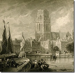 Church of St Lawrence, Rotterdam, Holland, detail, Engraved from a 19th century print