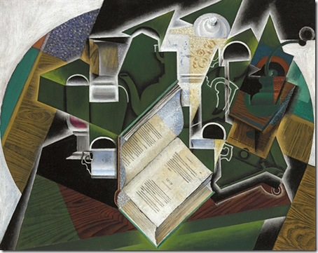 Livre, pipe et verres (Book, Pipe and Glasses), 1915, Juan Gris