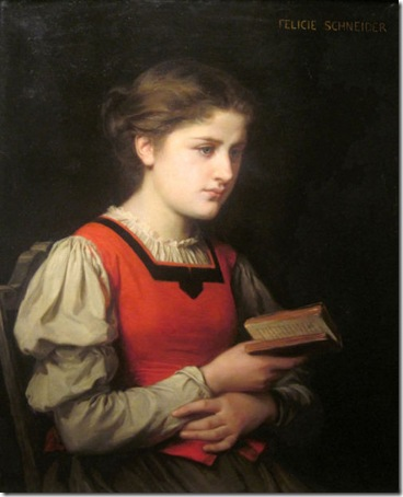 The Reader, Félicie (Fournier) Schneider (French academic painter, 1831-1888)