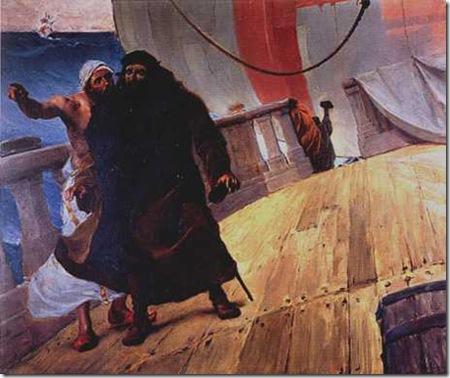 Vasco da Gama ouve o piloto oriental, 1907-1908, José Malhoa