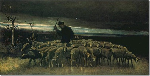 Shepherd with a Flock of Sheep, 1884, Vincent van Gogh