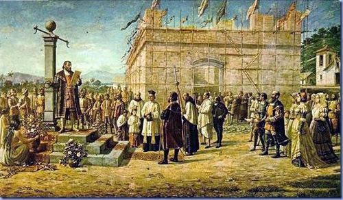 A Fundação da Villa de Santos - 1545, Benedito Calixto, detalhe