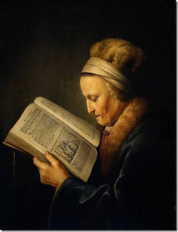 Old Woman Reading a Lectionary (So-called Portrait of Rembrandt's Mother), c. 1630, Gerrit Dou