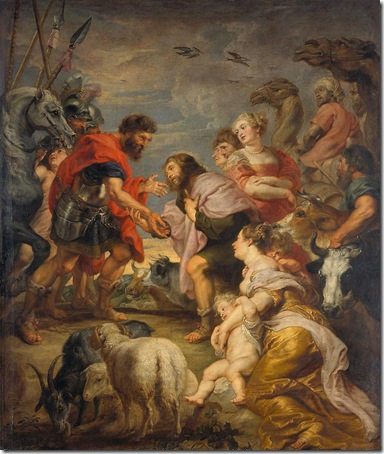 The Reconciliation of Jacob and Esau, c. 1624, Peter Paul Rubens