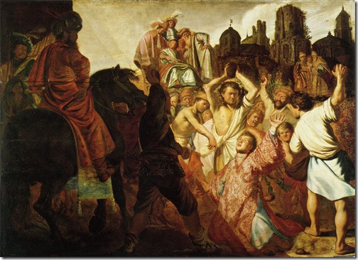 The Stoning of St Stephen, 1625, Rembrandt van Rijn