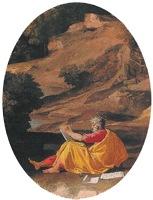 Landscape with Saint John on Patmos, 1640, Nicolas Poussin, detail