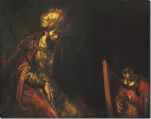 David Playing the Harp before Saul (David jouant de la harpe pour Saül), 1655-60, Rembrandt van Rijn