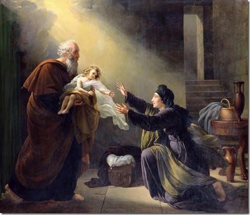 Elijah Resuscitating the Son of the Widow of Sarepta, Louis Hersent