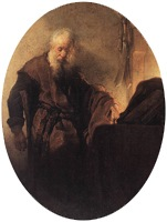 St. Paul at his Writing-Desk, 1629-1630, Rembrandt van Rijn, detail