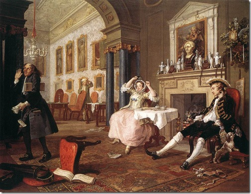Mariage à la Mode: The Tête-à-Tête (or: After the Wedding), 1743, William Hogarth
