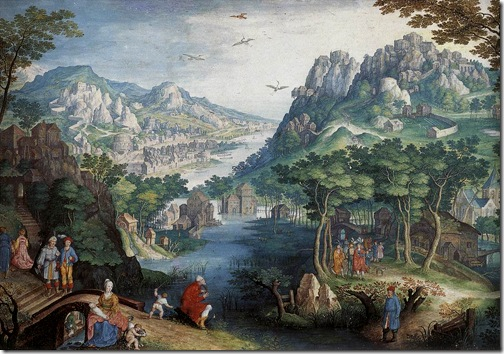 Mountain Landscape with River Valley and the Prophet Hosea, Gillis van Coninxloo