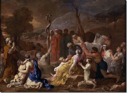 Moses and the Brazen Serpent (La serpiente de metal), 1653-54, Sébastien Bourdon