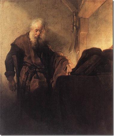 St. Paul at his Writing-Desk (L'Apôtre Paul à sa table de travail), 1629-1630, Rembrandt van Rijn