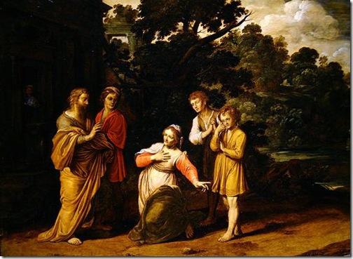 The Shunammite woman asking Elisha to awaken her dead son, Jan Tengnagel