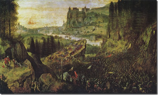 """The Suicide of Saul (or """"The Suicide of Saul in the Battle of Mount Gilboa against the Philistines""""), 1562, Pieter Bruegel the Elder"""
