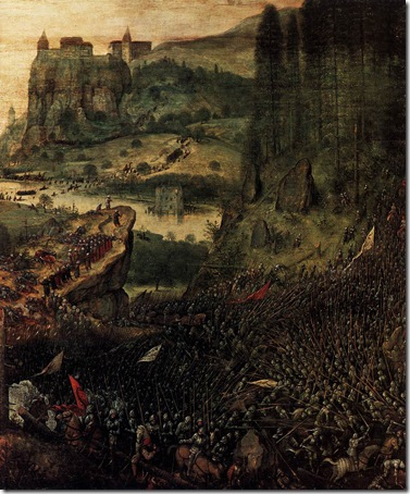 """DETAIL: The Suicide of Saul (or """"The Suicide of Saul in the Battle of Mount Gilboa against the Philistines""""), 1562, Pieter Bruegel the Elder"""