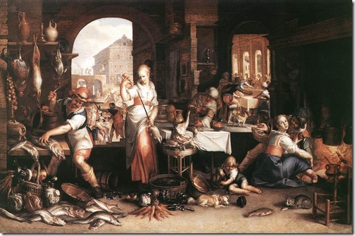 Kitchen Scene with the Parable of the Great Banquet (Kitchen Scene mit dem Gleichnis vom Großen Gastmahl), 1605, Joachim Antonisz. Wtewael