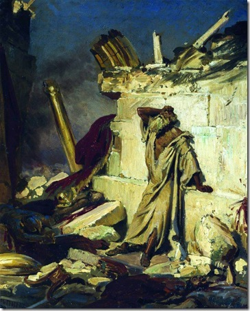 Cry of Prophet Jeremiah on the Ruins of Jerusalem, 1870, Ilya Repin