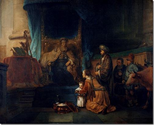 Hannah presenting Samuel to Eli (Hannah brengt haar zoon Samuel bij de priester Eli / Anne et son époux Elcana présentant au grand prêtre Eli leur fils Samuel), ca. 1665, Gerbrand van den Eeckhout