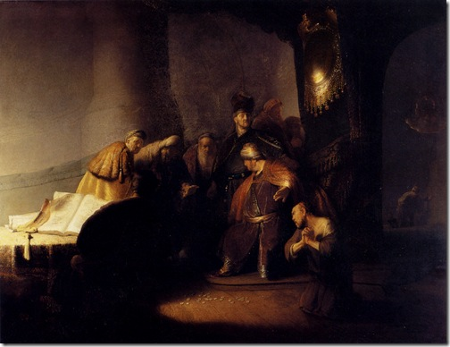 Repentant Judas Returning the Pieces of Silver, 1629, Rembrandt van Rijn