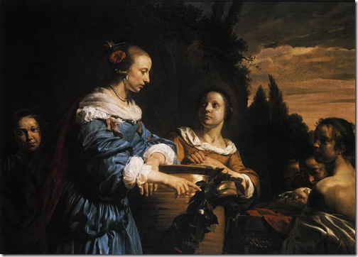 Pharaoh's Daughter with Her Attendants and Moses in the Reed Basket, 1661, Jan de Bray