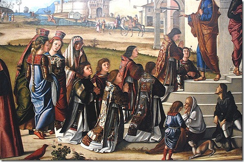 DETAIL: St. Stephen is Consecrated Deacon (Die Weihe des hl. Stephanus zum Diakon), 1511, Vittore Carpaccio