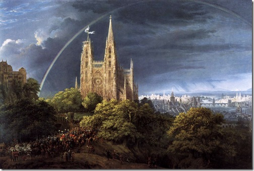 Medieval City on a River, 1815, Karl Friedrich Schinkel