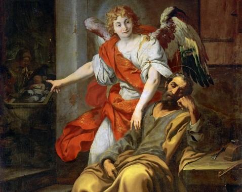 The dream of Saint Joseph (Traum des Hl. Joseph), 1620-30, Daniele Crespi (Italian Baroque Era Painter, ca.1598-1630), Oil on canvas, 297 x 203 cm, Kunsthistorisches Museum, Gemäldegalerie, Vienna, Austria