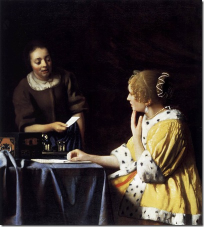 Lady with Her Maidservant Holding a Letter, c. 1667, Jan Vermeer