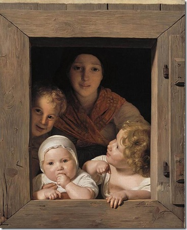 Young Peasant Woman with Three Children at the Window, 1840, Ferdinand Georg Waldmüller