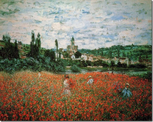 Poppy Field near Vetheuil (Champs de coquelicots près de Vétheuil), 1879, Claude Monet