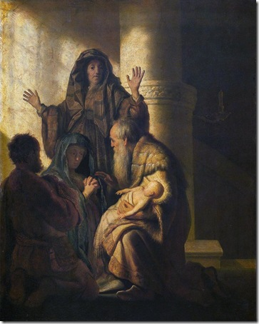 Simeon and Anna Recognize the Lord in Jesus, c. 1627, Rembrandt van Rijn
