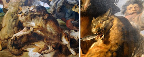 Wolf and Fox Hunt, c. 1615–21, Peter Paul Rubens, details