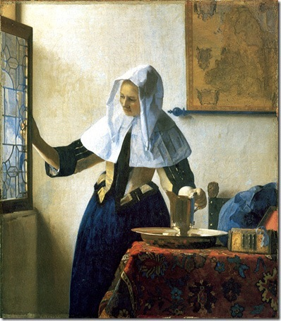 Young Woman with a Water Pitcher, ca. 1662, Johannes Vermeer