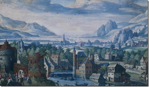 Landscape with the story of the daughter of Jephthah (Landschap met de geschiedenis van de dochter van Jefta), 1580-89, Jacob Savery the Elder