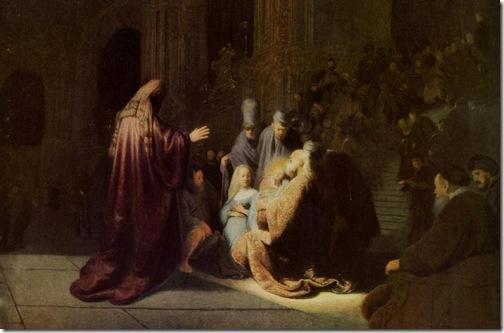 DETAIL: Simeon's song of praise, 1631, Rembrandt van Rijn
