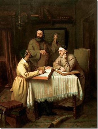 Theological discussion, 1863, Edouard Moyse