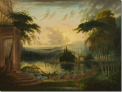 A Romantic Landscape with the Arrival of the Queen of Sheba, c. 1830, Samuel Colman