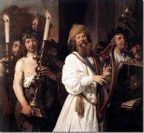 """David Playing the Harp"" (or David and the Return of the Ark of the Covenant), 1670, Jan de Bray"