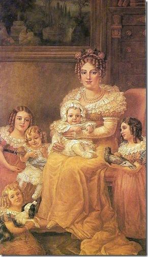 Retrato de D. Leopoldina de Habsburgo com seus filhos (Maria Leopoldine of Austria Family / Ritratto in abiti ottocenteschi di Maria Leopoldina d'Absburgo con i figli), 1921, Domenico Failutti