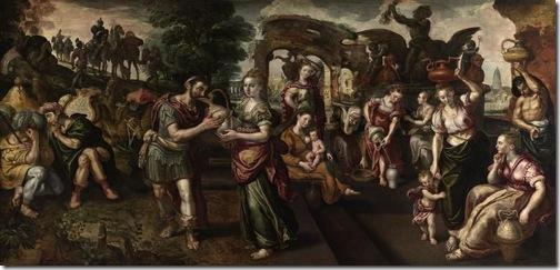 Eliezer and Rebecca at the Wel (Eliézer et Rebecca à la fontaine), 1562, Martin de Vos