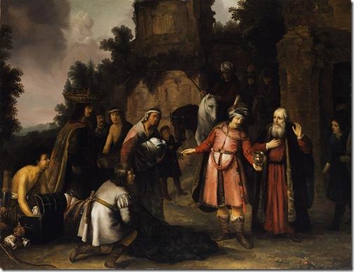 Elisha declining Naaman's presents (Der Prophet Elisa Weist Naamans Gaben Zurück / Le prophète Elisée refuse les présents que lui offre Naaman), c. 1655, Abraham van Dijck