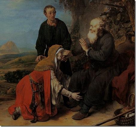 DETAIL: Prophet Elisha and the woman of Shunem (De profeet Elisa en de Sunamitische vrouw / Elizeus próféta és a súmeni asszony), 1664, Gerbrand van den Eeckhout