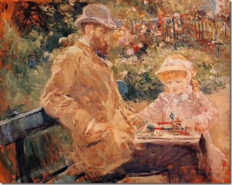 Eugène Manet and His Daughter at Bougival, 1881, Berthe Morisot