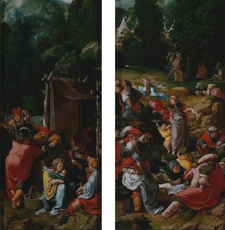 DETAIL: Tríptico com a adoração ao bezerro de ouro - Lucas van Leyden