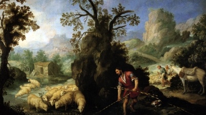 Jacob Laying Peeled Rods before the Flocks of Laban (Jacob pone las varas al ganado de Labán), 1660-1665, Bartolomé Esteban Murillo