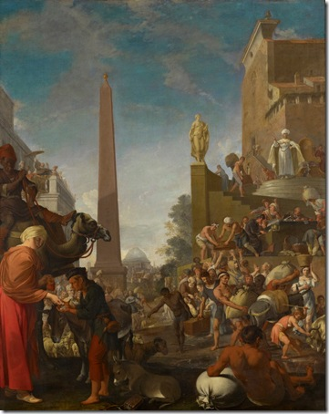 "Joseph Selling Cereals to the People (""Joseph Selling Wheat to the People"" / ""Joseph Distributing Corn in Egypt"" / Joseph verkauft Korn), 1655, Bartholomeus Breenbergh"