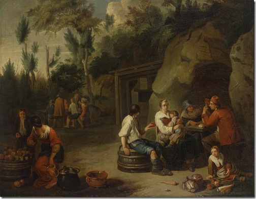 Peasant Family Sitting at the Table, Early 18th century, Norbert van Bloemen