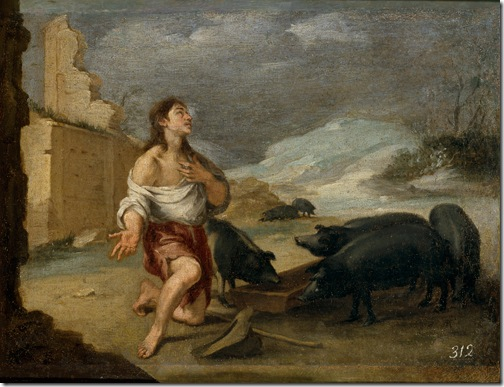 The Prodigal Son Feeding Swine (El hijo pródigo abandonado), c. 1660, Bartolomé Esteban Murillo
